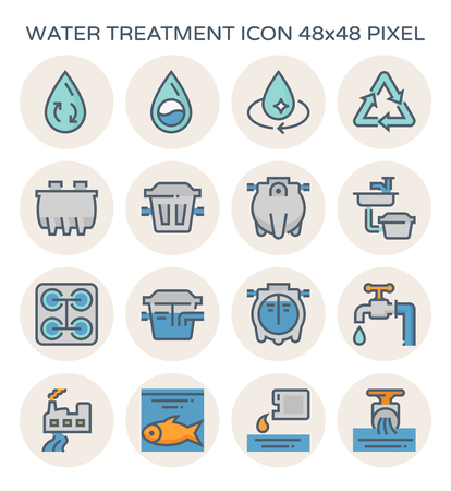 Water treatment plant and septic tank icon, 64x64 perfect pixel and editable stroke. Illustration