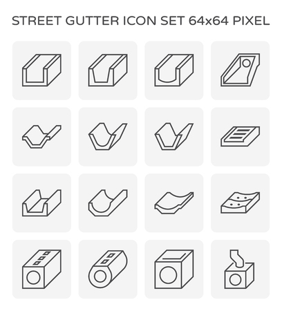 Street gutter icon set, 64x64 perfect pixel and editable stroke. Stock Illustratie