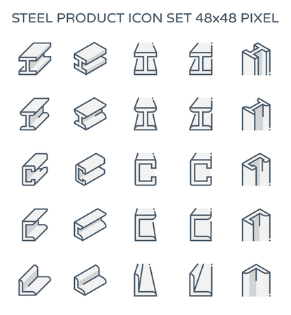 Steel and metal product icon set, 48x48 pixel perfect and editable stroke. Illustration