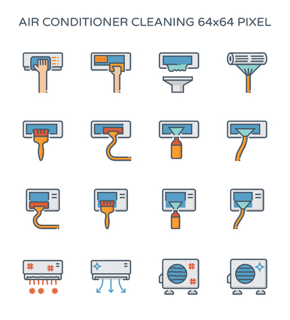 Air conditioner and air compressor cleaning icon set, 64x64 perfect pixel and editable stroke.