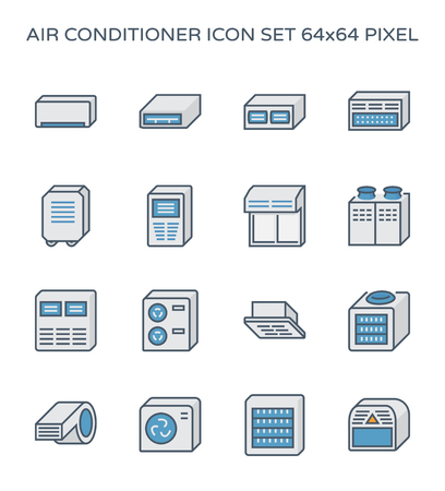 Air conditioner and air compressor icon set, 64x64 perfect pixel and editable stroke. Çizim