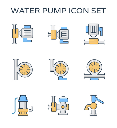 Electric water pump and agriculture equipment icon set, editable stroke. Illustration