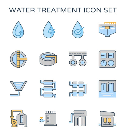 Impianto di trattamento delle acque e set di icone del filtro dell'acqua, tratto modificabile. Vettoriali