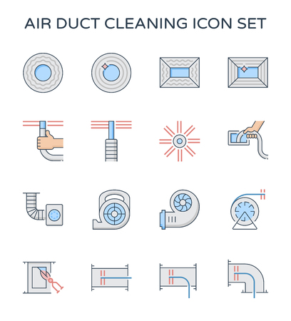Air duct pipe and cleaning work icon set, 64x64 perfect pixel and editable stroke.