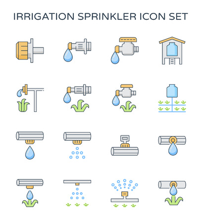 Conjunto de iconos de riego por goteo de agua automático, trazo editable.