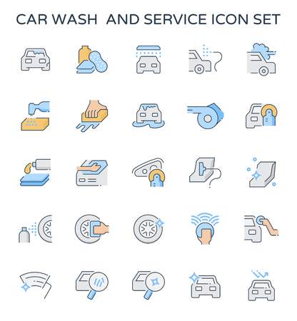 Car wash and service icon  set. Illustration
