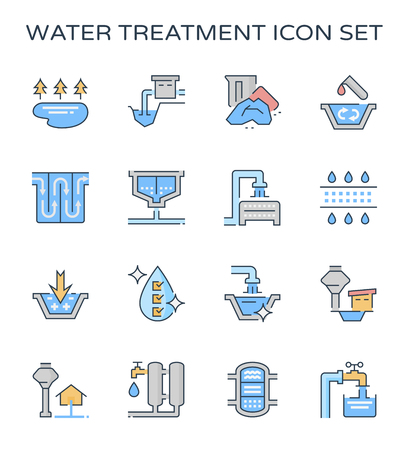Water treatment system and water filter icon set, editable stroke. Vectores