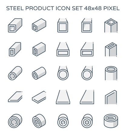 Steel and metal product icon set, 48x48 pixel perfect and editable stroke. Иллюстрация