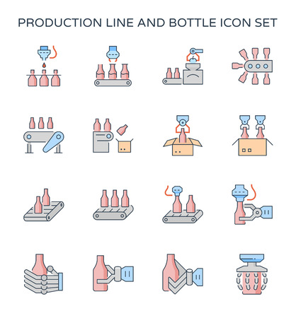 Production line and packaging bottle icon set, editable stroke.