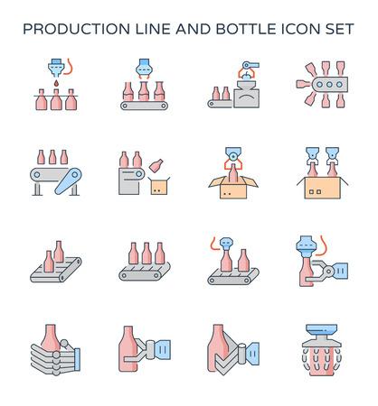 Set di icone di linea di produzione e bottiglia di imballaggio, tratto modificabile. Vettoriali