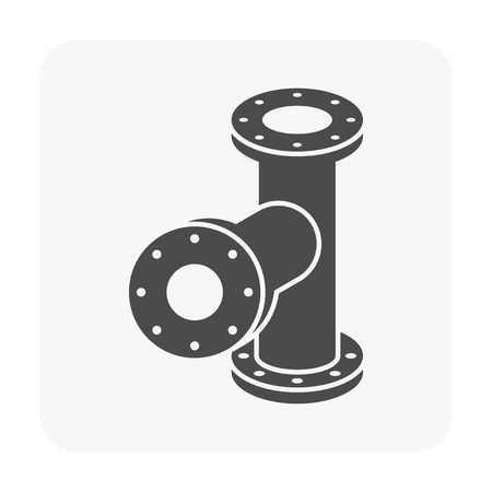 Steel pipe connector icon set.