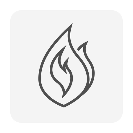 Flame icon, 64x64 perfect pixel and editable stroke.
