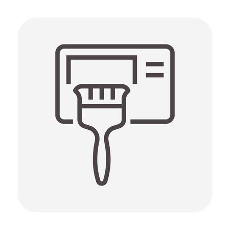 Icona di pulizia del condizionatore d'aria, pixel perfetti 64x64 e tratto modificabile. Vettoriali