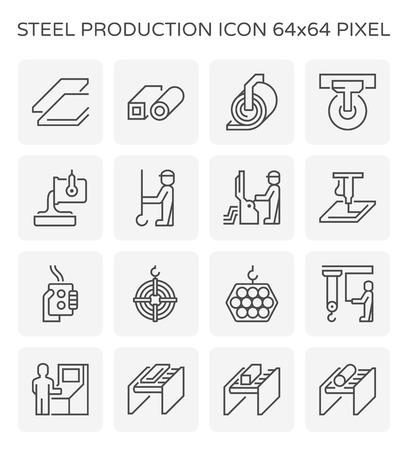 Jeu d'icônes de production et de tuyaux en acier, pixel parfait 64x64 et trait modifiable. Vecteurs