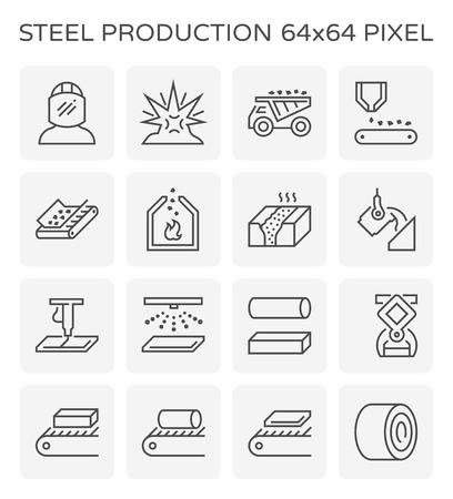 Steel and metal production industry vector icon set, 64x64 perfect pixel and editable stroke.