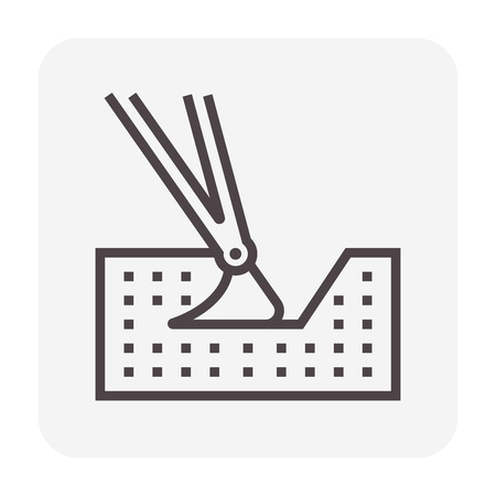 Soil excavation and equipment icon, 64x64 perfect pixel and editable stroke.