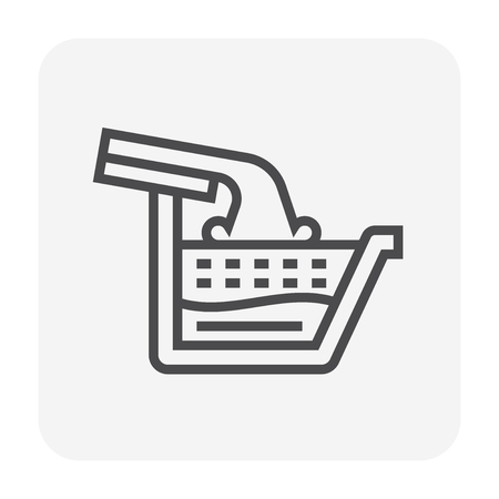 Gutter and drainage system icon, 64x64 perfect pixel and editable stroke. Illustration