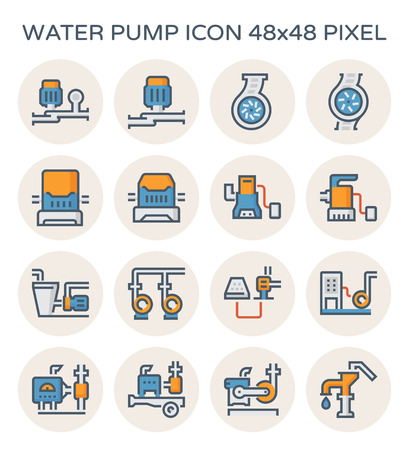 Electric water pump and agriculture equipment icon set, 48x48 perfect pixel and editable stroke. Illustration