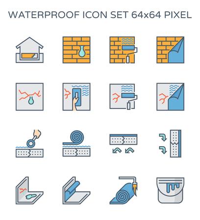 Conjunto de iconos de fugas de agua y a prueba de agua, píxeles perfectos de 64x64 y trazo editable.