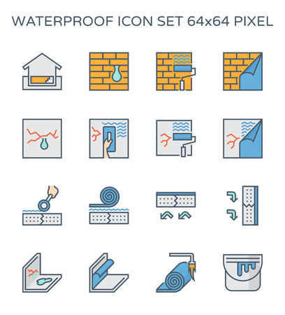 Waterproof and water leak icon set, 64x64 perfect pixel and editable stroke. Çizim