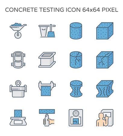 Pruebas de resistencia del hormigón y conjunto de iconos de laboratorio, píxeles perfectos de 64 x 64 y trazo editable.