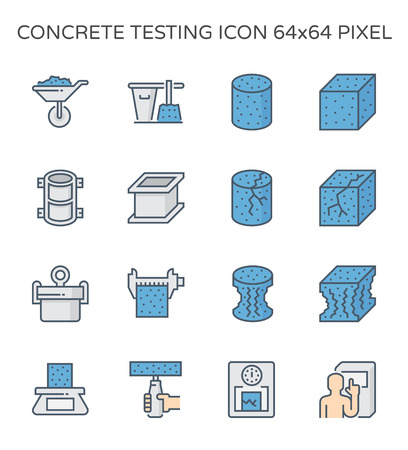 Concrete strength testing and laboratory icon set, 64x64 perfect pixel and editable stroke. Illustration