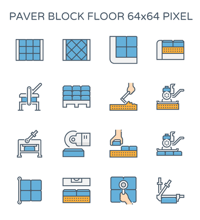 Paver block floor and construction work icon set, 64x64 perfect pixel and editable stroke.