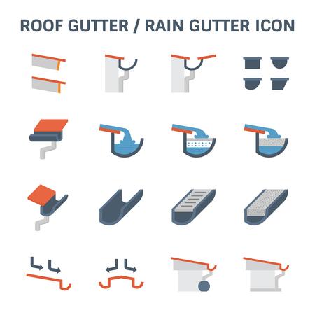 Dachrinne für Entwässerungssystem Vektor Icon Set Design.