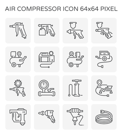 Air compressor and tool icon set, 64x64 perfect pixel and editable stroke. Иллюстрация