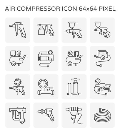 Compresor de aire y conjunto de iconos de herramientas, 64 x 64 píxeles perfectos y trazo editable.
