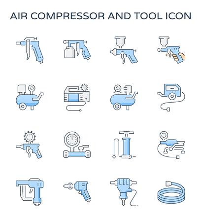Ensemble d'icônes de compresseur d'air et d'outil, course modifiable.