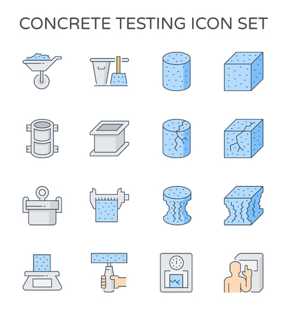 Concrete strength testing and laboratory icon set, 64x64 perfect pixel and editable stroke. Ilustrace