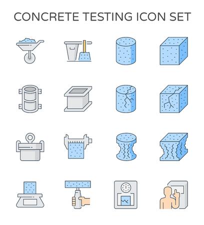 Pruebas de resistencia del hormigón y conjunto de iconos de laboratorio, píxeles perfectos de 64 x 64 y trazo editable. Ilustración de vector