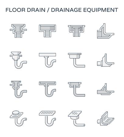 Symbolsatz für Bodenablauf und Entwässerungsausrüstung, bearbeitbarer Strich.