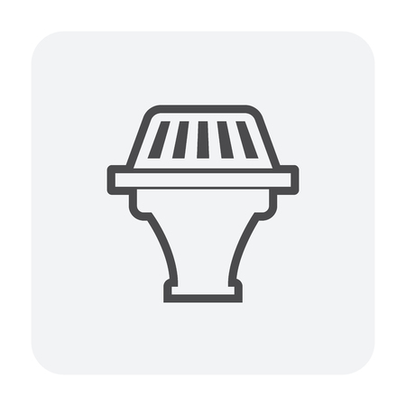 Roof deck drainage icon, black color. Stock Illustratie