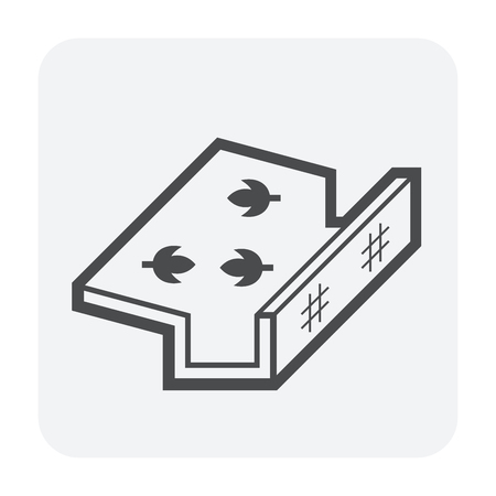 Roof gutter cleaning and maintenance icon.