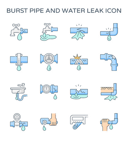 Burst pipe and water leak icon set, editable stroke.