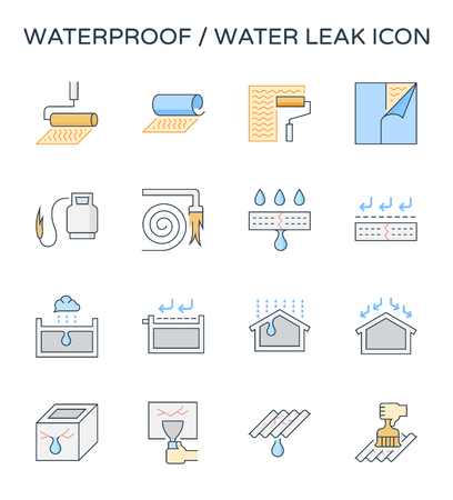 Waterproof and water leak icon set, editable stroke. Illustration