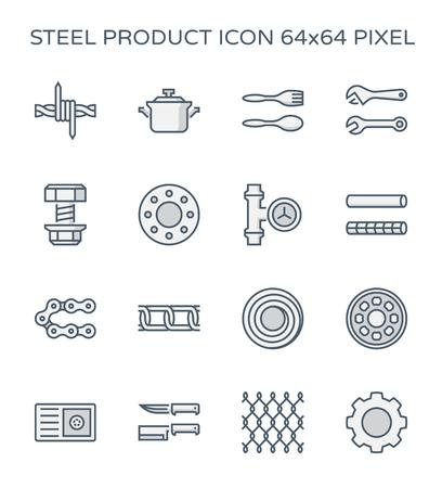 Ensemble d'icônes de produits en acier et en métal, pixel parfait de 64x64 et trait modifiable.