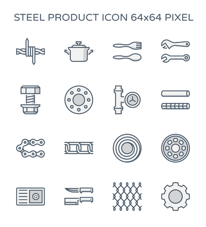Steel and metal product icon set, 64x64 perfect pixel and editable stroke.