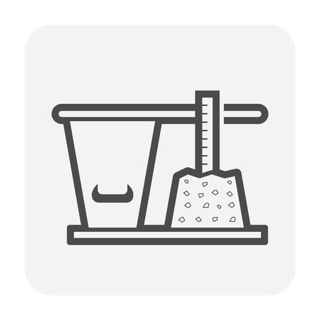 Concrete strength testing icon, outline and black color. Ilustrace