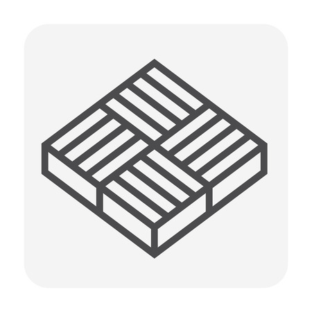 Concrete paver block floor icon, editable stroke.