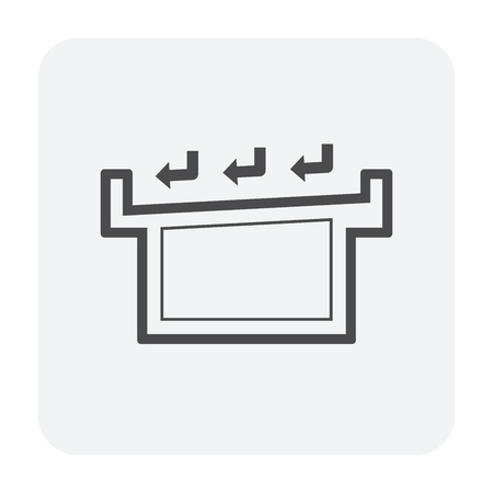 Roof deck drainage icon, black color. Illustration
