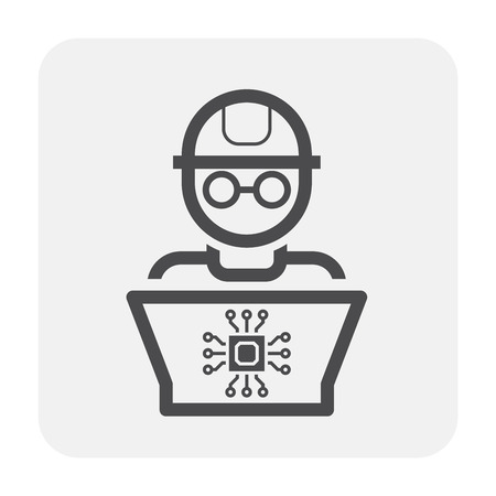 Engineer and laptop  icon design, black and outline.  イラスト・ベクター素材