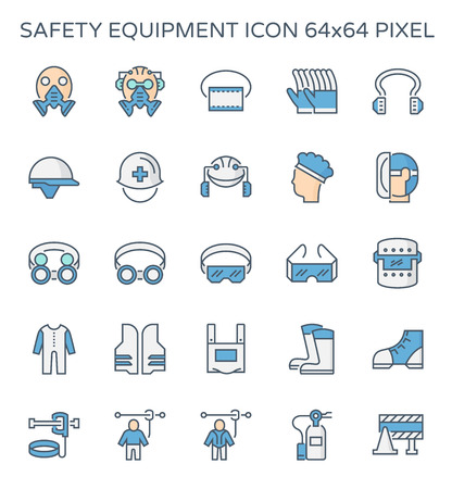 Safety equipment and tool icon set, 64x64 perfect pixel and editable stroke.