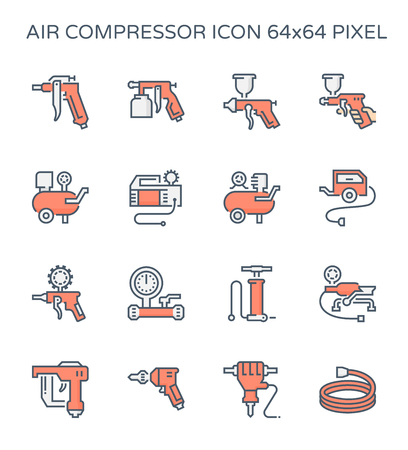 Air compressor and tool icon set, 64x64 perfect pixel and editable stroke. Illustration
