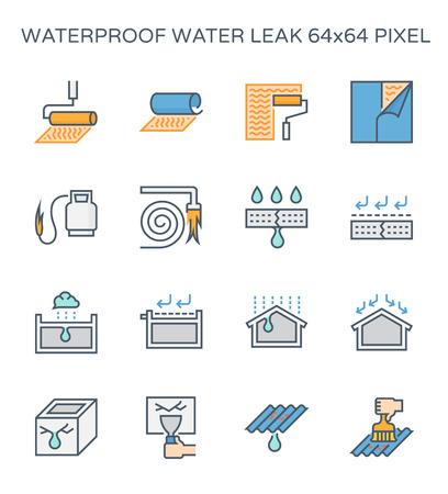 Conjunto de iconos de fugas de agua y a prueba de agua, píxeles perfectos de 64x64 y trazo editable. Ilustración de vector