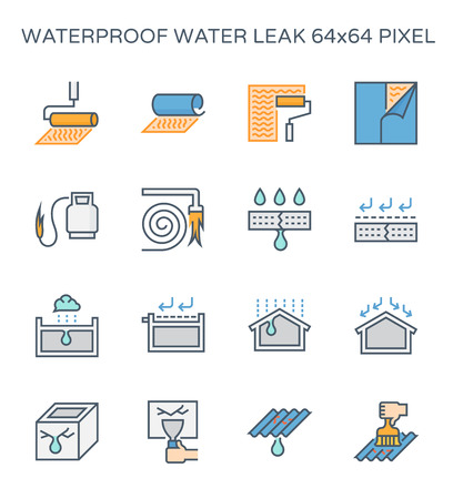 Waterproof and water leak icon set, 64x64 perfect pixel and editable stroke. Ilustração