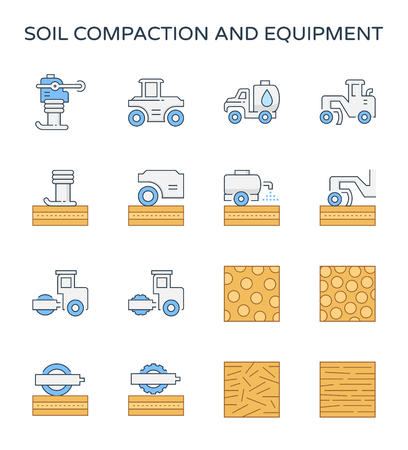 Soil compaction and equipment icon set, editable stroke.