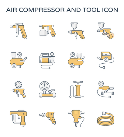 Air compressor and tool icon set, editable stroke.